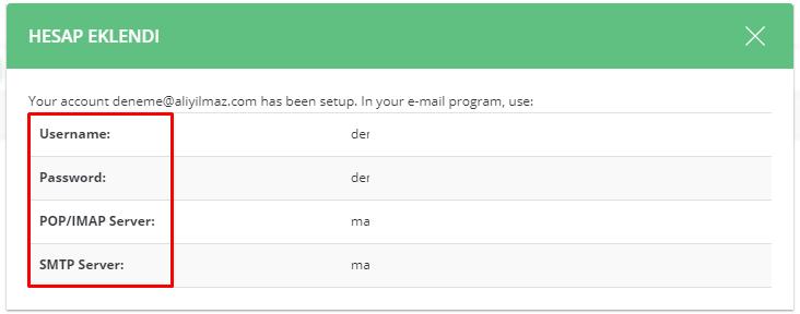 DirectAdmin E-Mail Hesabı Oluşturma Ve Yönetme 7