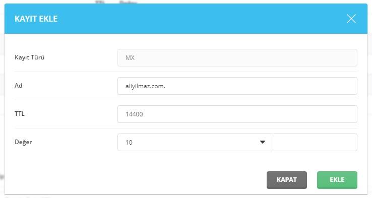 G Suite Gmail ve Yandex Mail için MX Kayıtları Oluşturma 6