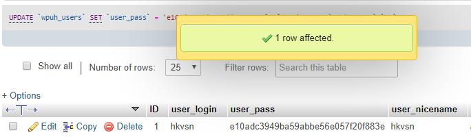 PHPMyAdmin ile Unutulan WordPress Şifresi Değiştirme 8