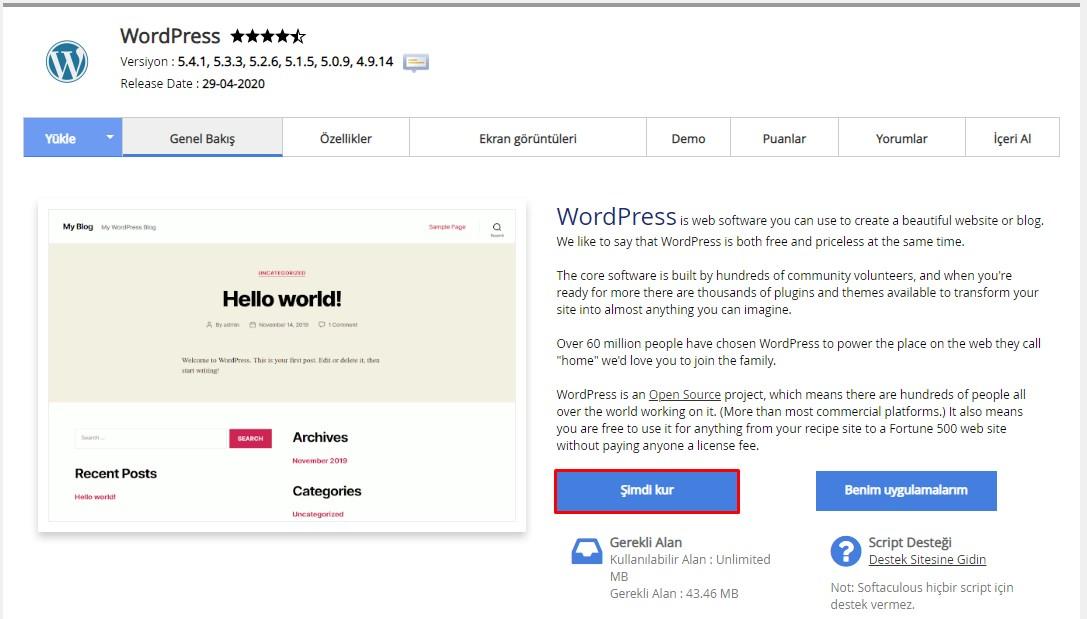 cPanel'den WordPress Kurulumu 2
