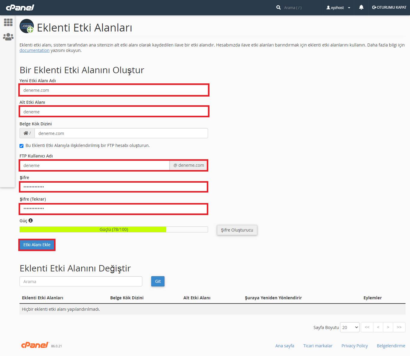 cPanel Addon Domain Ekleme 2