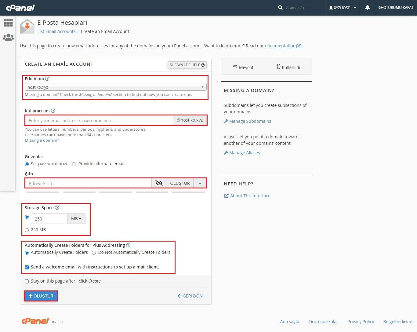 cPanel Domain Mail Hesabı Oluşturma 3