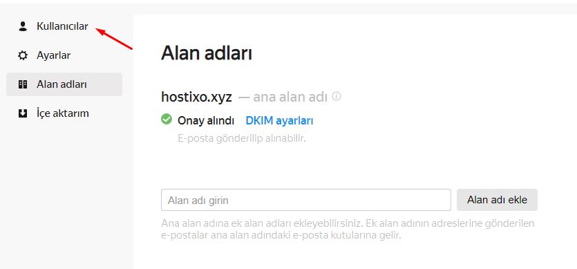 Yandex Connect Domain Ekleme ve E-posta Oluşturma 11