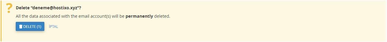 cPanel Domain Mail Hesabı Silme 2