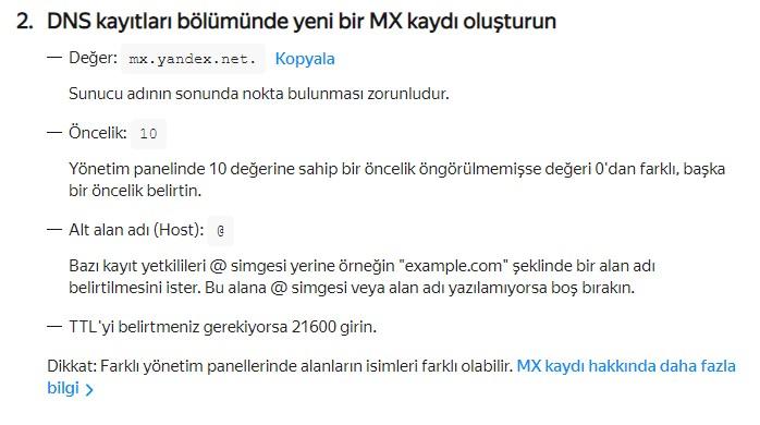 Yandex Connect Domain Ekleme ve E-posta Oluşturma 9